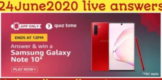 Amazon Quiz 24 June 2020