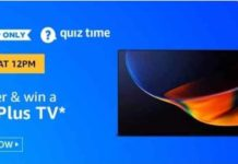 Amazon Oneplus TV Quiz Today Answers